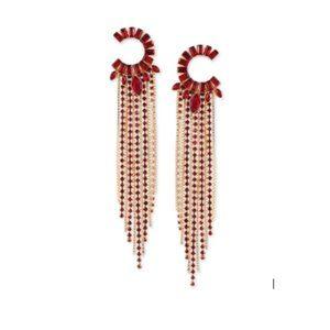 GUESS Red Semi-circle & Fringe Chandelier Earrings